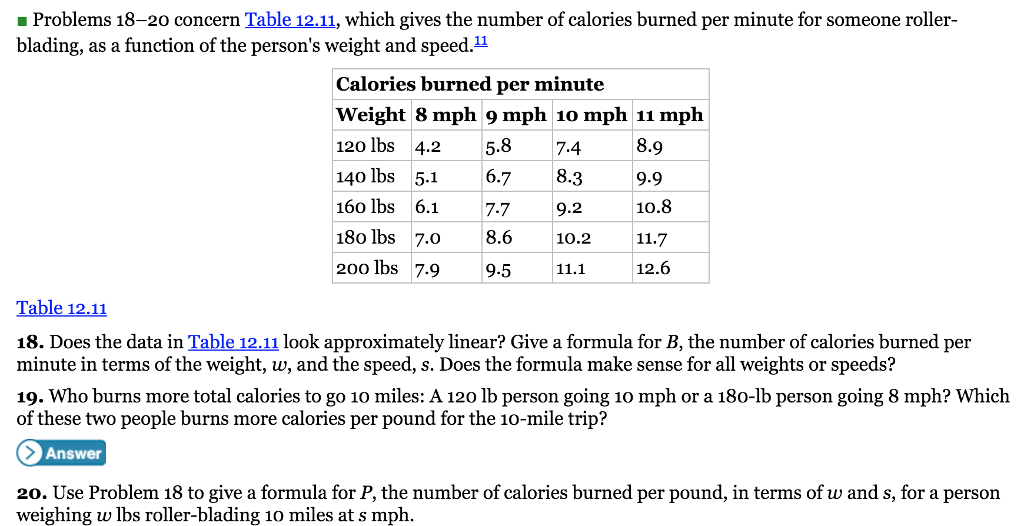 _ Problems 18-20 concern Table 12.11, which gives the number of calories  burned