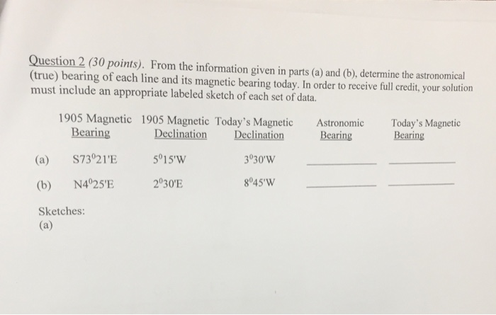 Solved: Question 2 (30 Points)  From The Information Given
