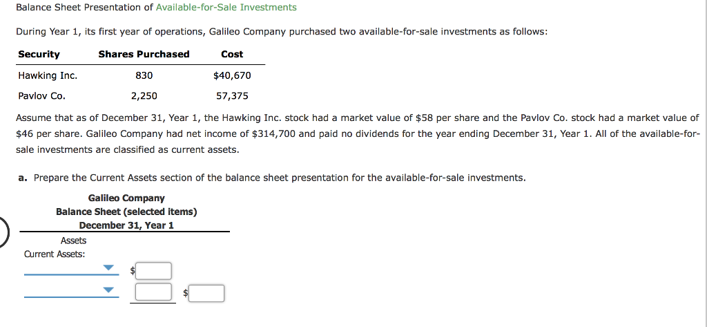 balance sheet presentation of available for sale investments