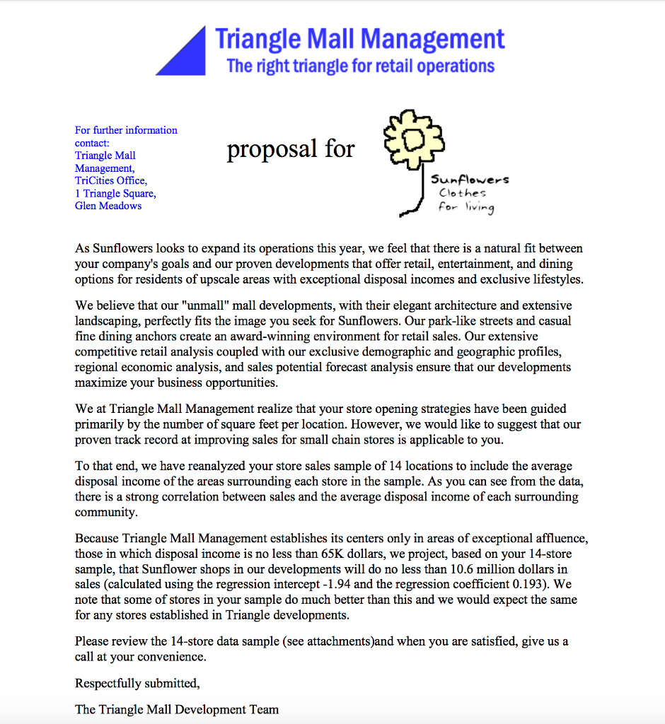 Solved: Leasing Agents From The Triangle Mall Management C
