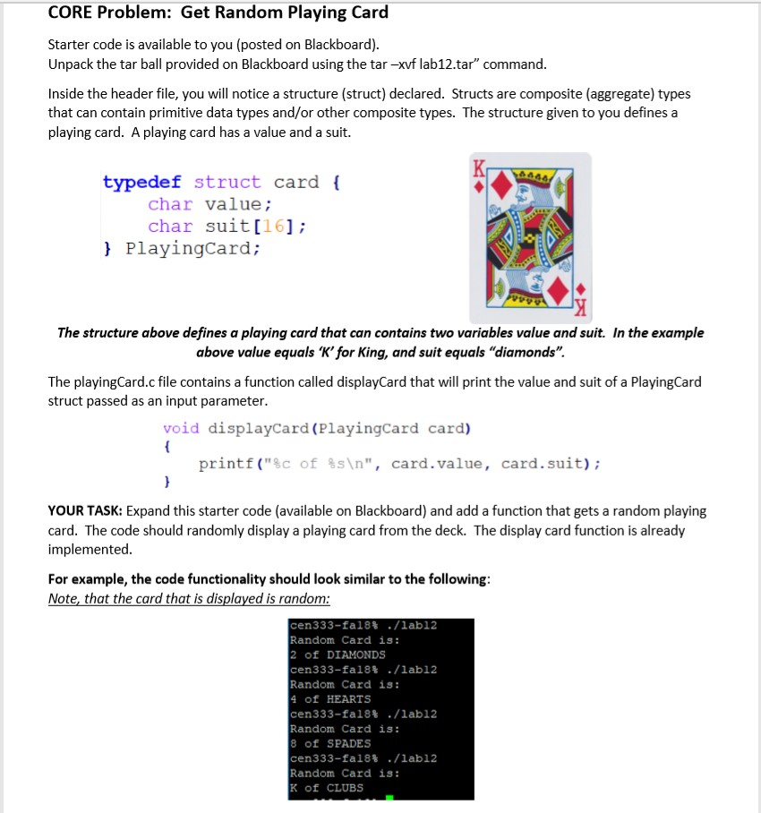 Solved: C Programming: Get Random Playing Card And Shuffle