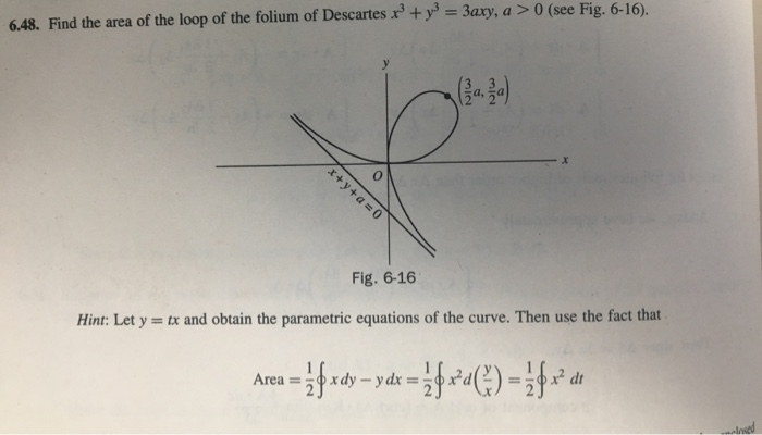 Solved: 6.48. Find The Area Of The Loop Of The Folium Of D...   Chegg.com