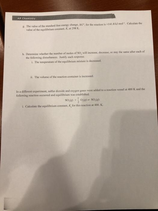 Solved Ap Chemistry Nmsi Super Problem General Equilibri Chegg Com