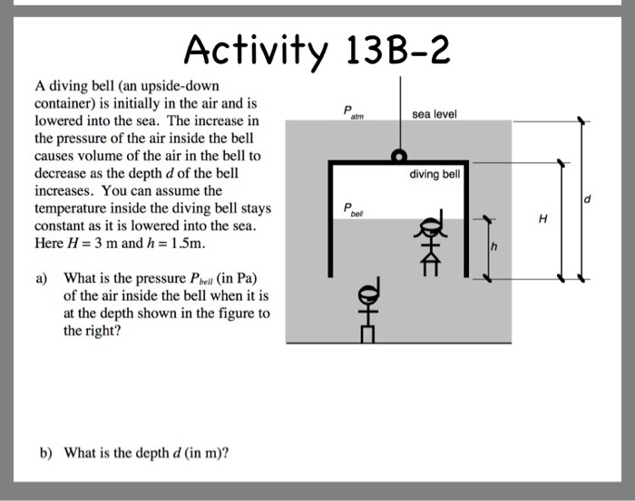 Solved: Activity 13B-2 A Diving Bell (an Upside-down Conta