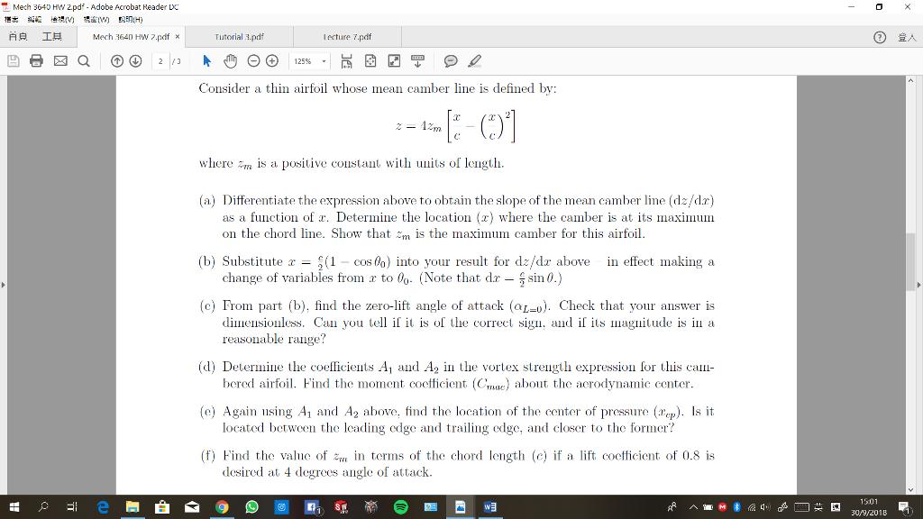 Solved: Mech 3640 HW 2pdf - Adobe Acrobat Reader DC 0 白良
