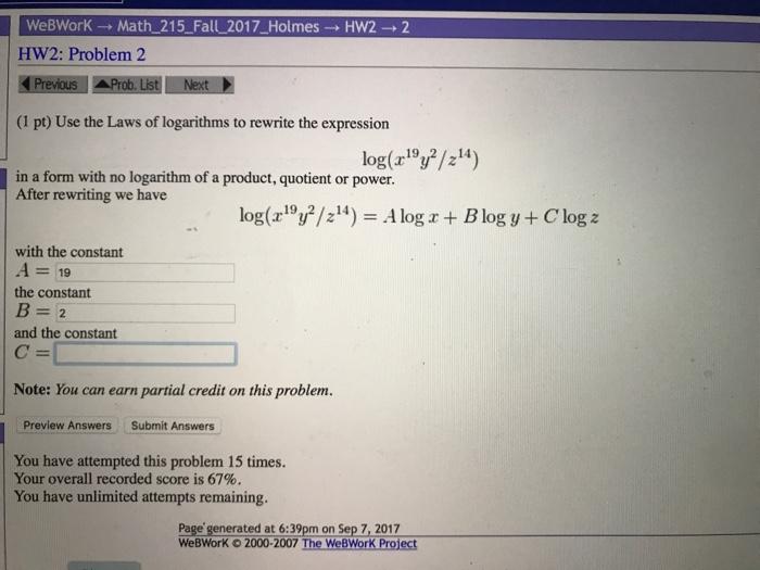 Solved: WeBWorK → Math-215-Fall-2017-Holmes → HW2 → 2 HW2