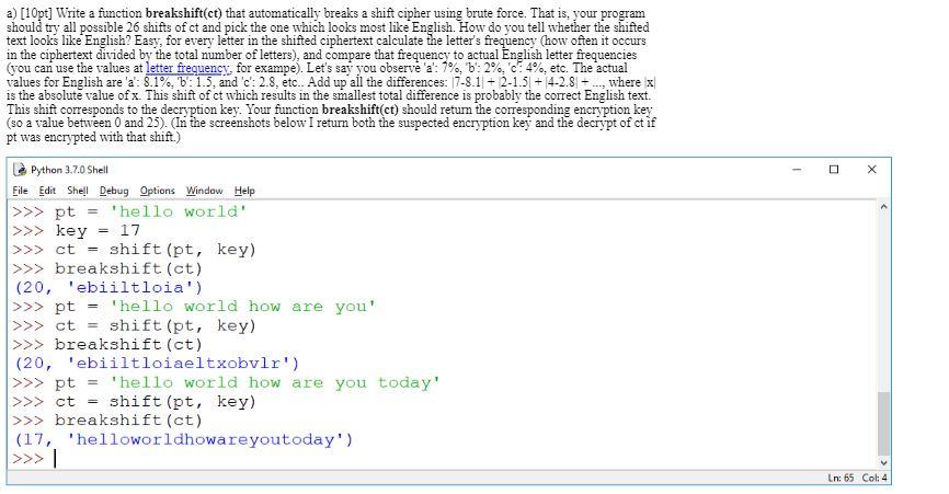 Ct Pick 3 >> A 10pt Write A Function Breakshift Ct That Aut