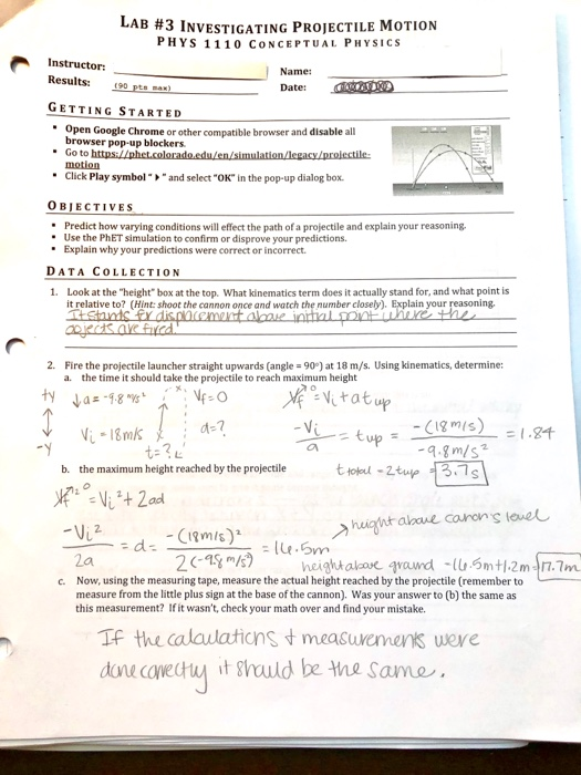 Solved: LAB #3 INVESTIGATING PROJECTILE MOTION PHYS 1 110