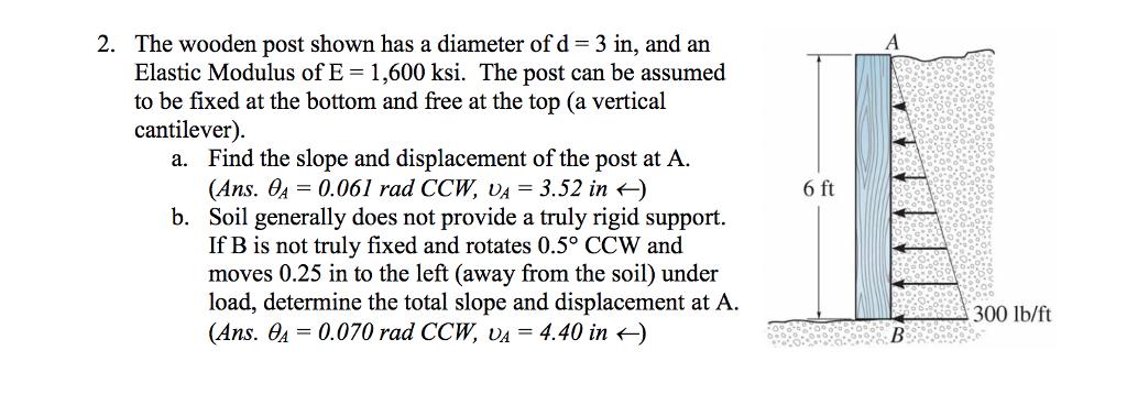 solved 2 the wooden post shown has a diameter of d elast rh chegg com