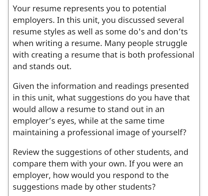 Solved Your Resume Represents You To Potential Employers