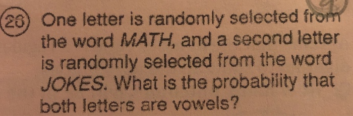 Solved: One Letter Is Randomly Selected Fro The Word MATH