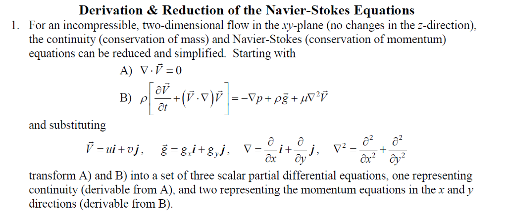 Solved: Derivation & Reduction Of The Navier-Stokes Equati