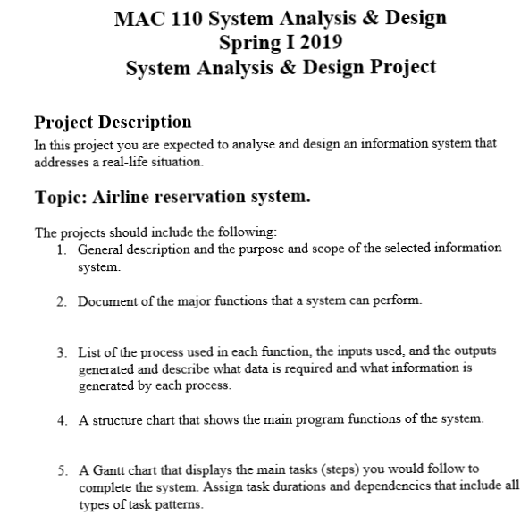 Mac 110 System Analysis Design Spring I2019 Syst Chegg Com