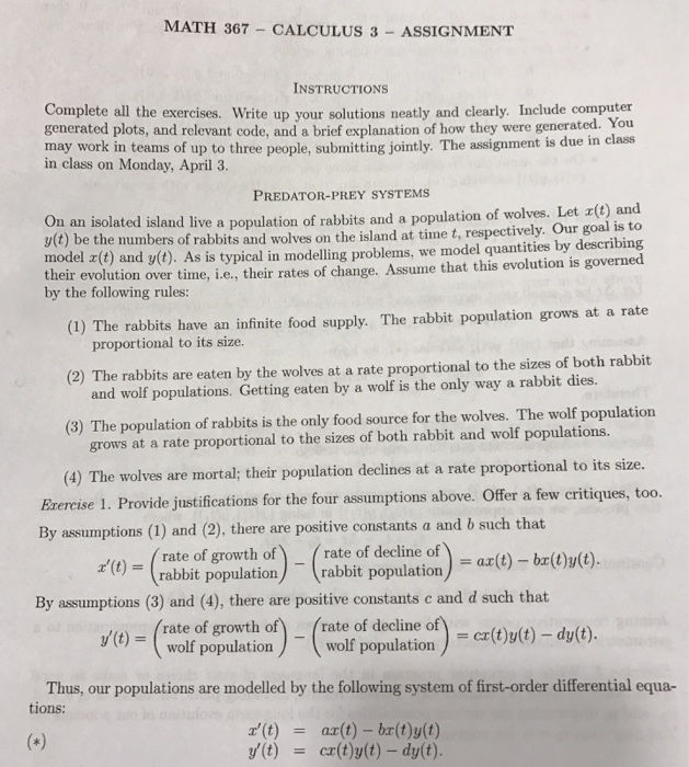 Solved: MATH 367 CALCULUS 3 ASSIGNMENT INSTRUCTIONS Comple