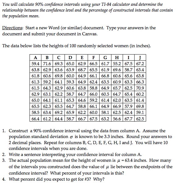 Solved: You Will Calculate 90% Confidence Intervals Using