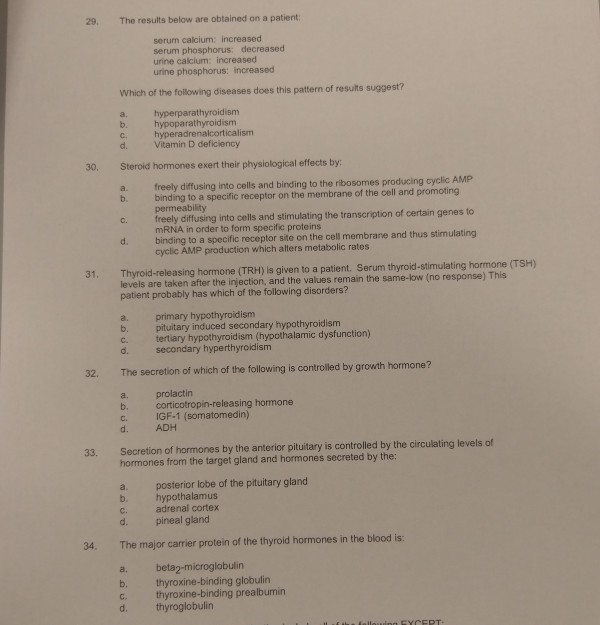 Solved 29 The Results Below Are Obtained On A Patient Se