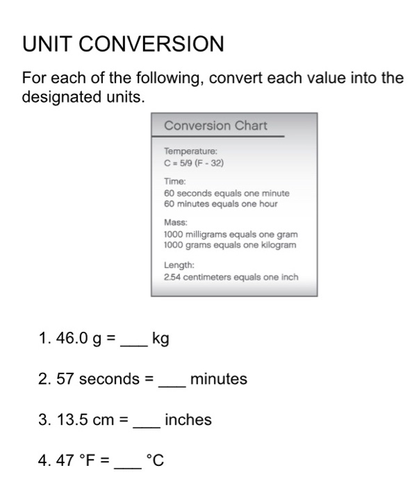 Solved Unit Conversion For Each Of The Following Convert