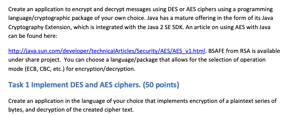 Solved: Create An Application To Encrypt And Decrypt Messa