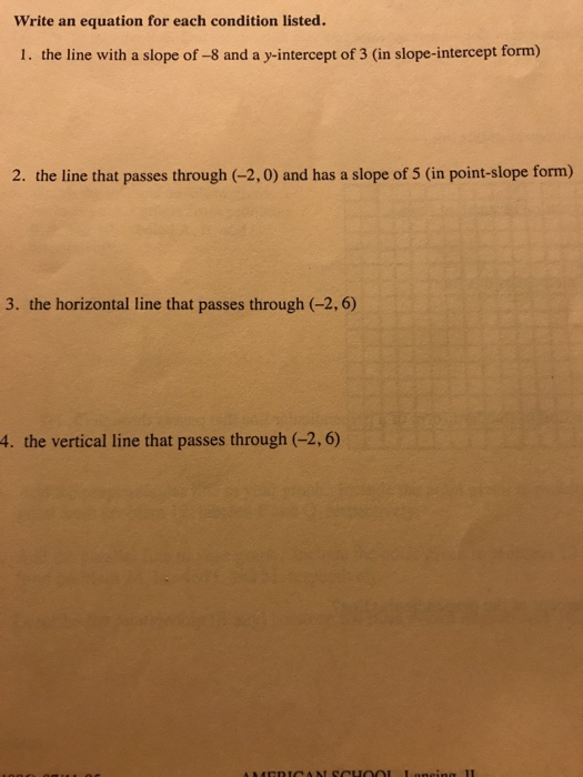 point slope form horizontal line  Solved: Write An Equation For Each Condition Listed. 7. Th ...