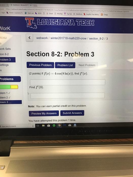 Question Cure Https Webwork Latech Edu Webwork2 Winter201718 Math220 Crow Section 8 2 3 Teectiveluser B