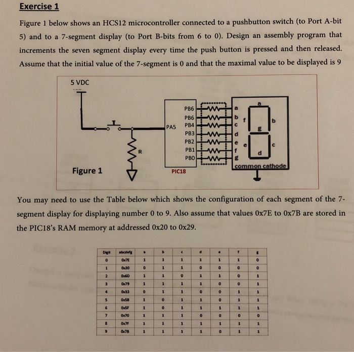 Exercise 1 Figure 1 Below Shows An HCS12 Microcont
