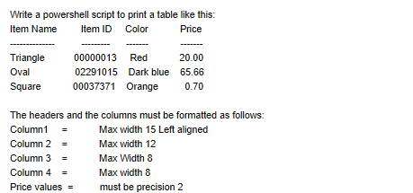 Question Write A Powershell Script To Print Table Like This Item Name ID Color Price Triangle Oval