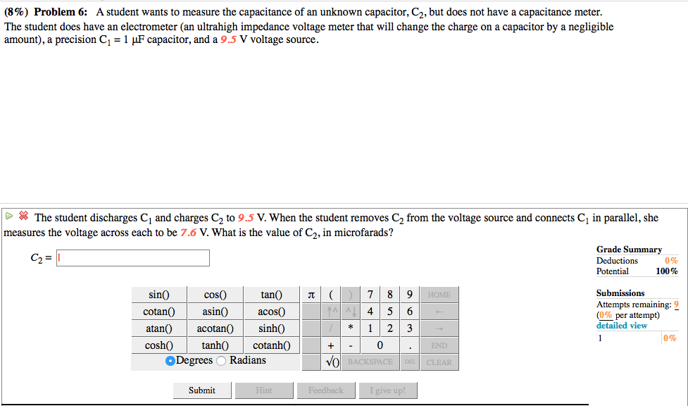 Solved 8 Problem 6 A Student Wants To Measure The Cap