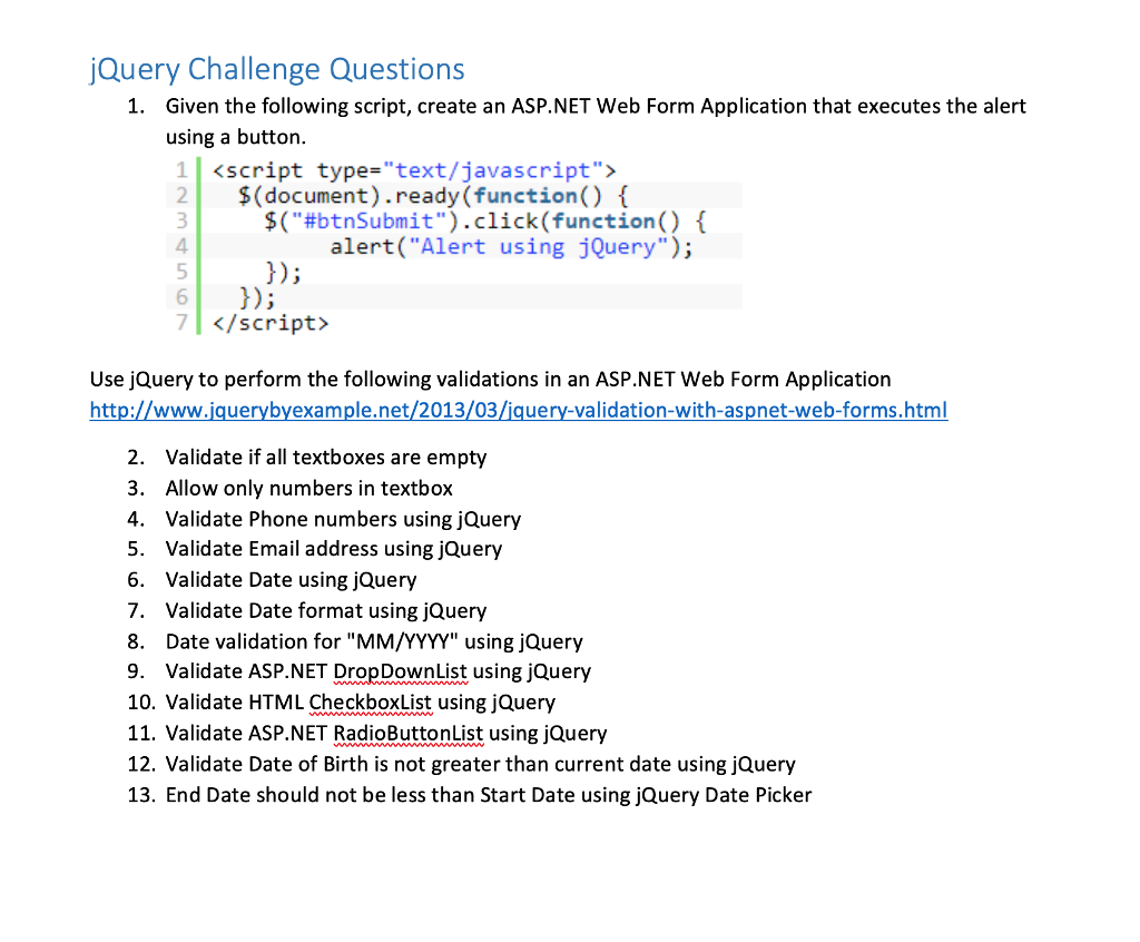 Solved: JQuery Challenge Questions 1  Given The Following