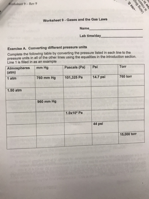 Pressure Unit Conversions Worksheet Answers / Review From ...