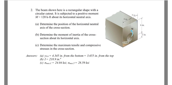 Solved: 2  The Beam Shown Here Is A Rectangular Shape With