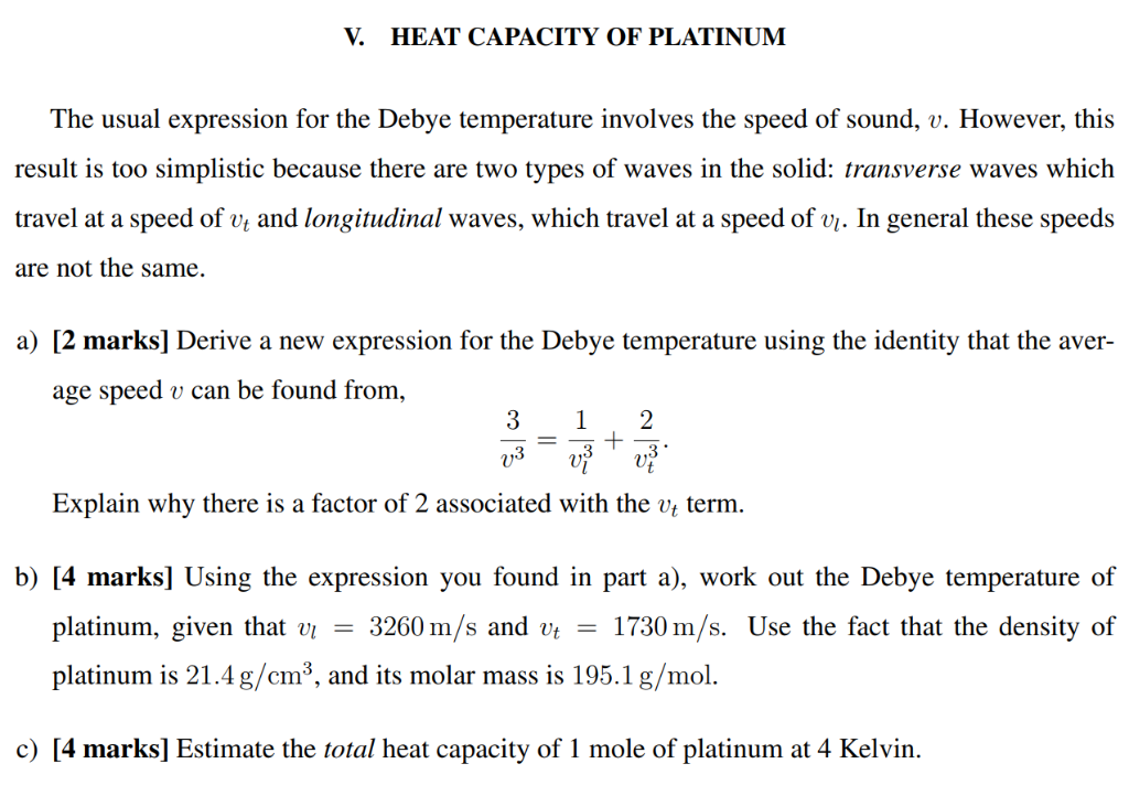 Solved: V  HEAT CAPACITY OF PLATINUM The Usual Expression