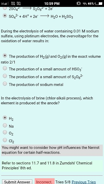 Solved: 10:59 PM Electrolysis In Aqueous Solutions - Overv