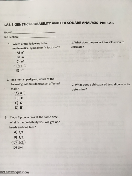 Solved: LAB 3 GENETIC PROBABILITY AND CHI-SQUARE ANALYSIS