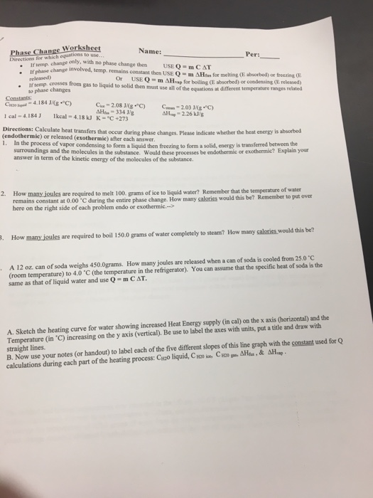 Worksheet Directios Fer H Hange Only, With No Phas... | Chegg.com