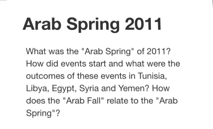 Arab Spring 2011 What was the Arab Spring of 2011? How did events start and what were the outcomes of these events in Tunisia, Libya, Egypt, Syria and Yemen? How does the Arab Fall relate to the Arab Spring?
