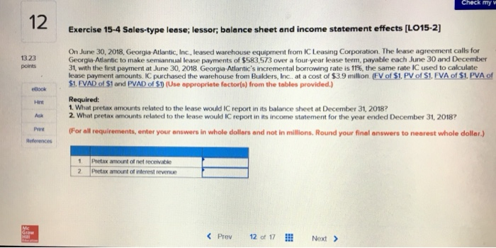 Solved Check My W 12 Exercise 15 4 Sales Type Lease Less