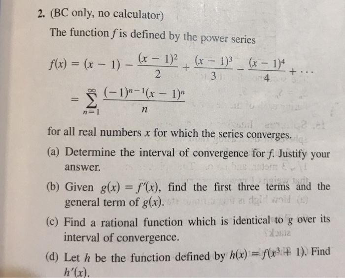 Solved: 2  (BC Only, No Calculator) The Function F Is Defi