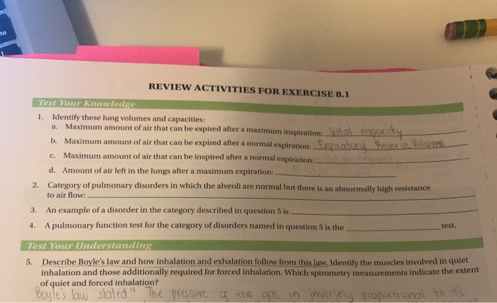 Solved: REVIEW ACTIVITIES FOR EXERCISE 8 1 Test Your Knowl