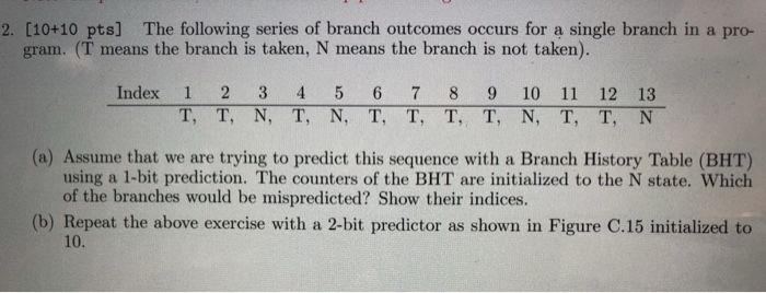 2  [10+10 Pts] The Following Series Of Branch Outc
