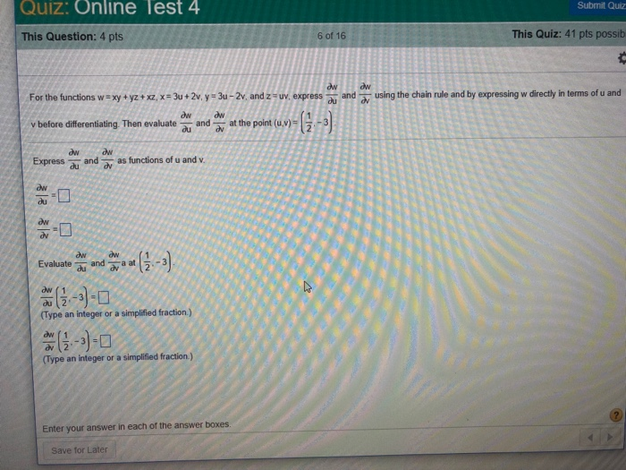 Question Quiz Online Test 4 Submit This Pts 6 Of 16 41 Possib Using The C