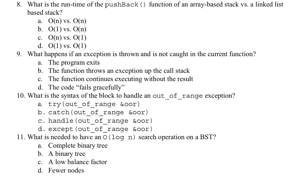 Solved: 8  What Is The Run-time Of The PushBack () Functio