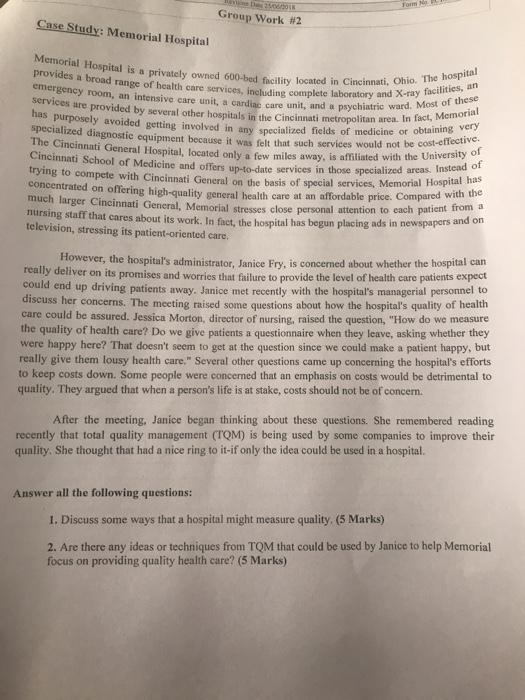 Solved: Group Work #2 Case Study: Memorial Hospital Memori