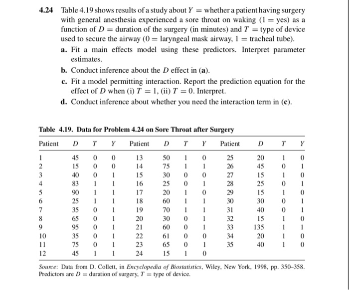 d2a31c98bb 4.24 Table 4.19 shows results of a study about Y whether a patient having  surgery with