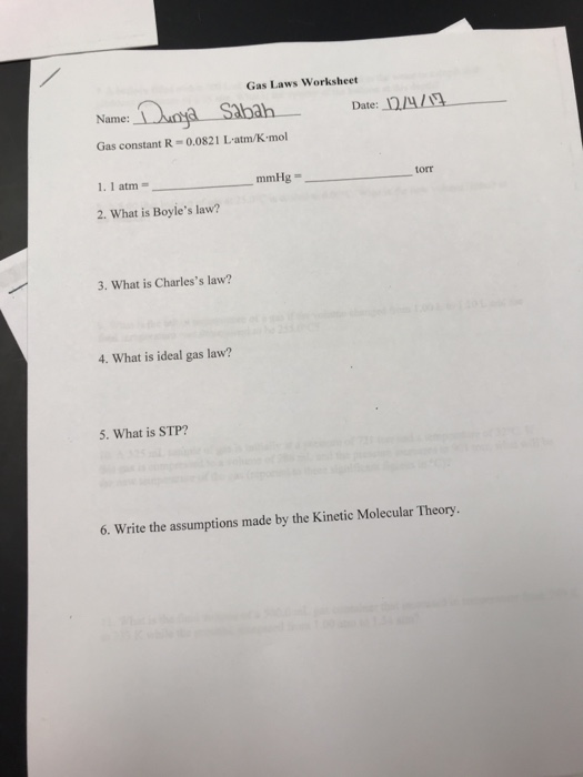 Solved Gas Laws Worksheet Name Ah Date 1224 1g Gas Cons