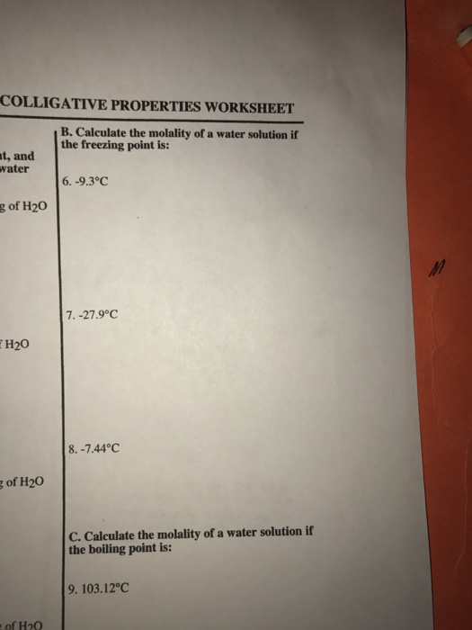 Worksheet'  Coltigative Properties Name 1  A property that depends also Angle Of Elevation and Depression Worksheet Cont Answers New besides Colligative Properties additionally chemistry colligative properties worksheet in addition Solved  COLLIGATIVE PROPERTIES WORKSHEET B  Calculate The likewise  moreover Unit 6  Solutions  Colligative Properties Worksheet   Artgumbo also Solved  Date Name Lab Partner Colligative Properties Of So furthermore Solution  Colligative properties are simi      Chemistry further Chem m6 colligative properties of solution furthermore Colligative Property WS also H03 Colligative Properties problems   markowitz am45362 H03 additionally Solution and Colligative Properties Worksheet Answer Keys as well Chem m6 colligative properties of solution moreover Understanding Colligative Properties Worksheet for 9th   12th Grade moreover Ice Cream Lab   Freezing Point Depression by Science Hive   TpT. on colligative properties worksheet with answers