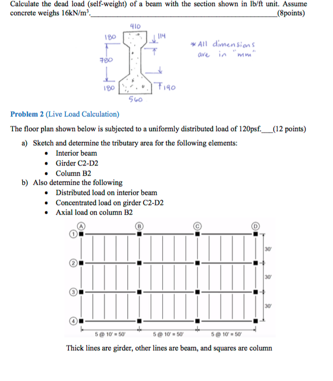 Solved Calculate The Dead Load Self Weight Of A Beam Wi