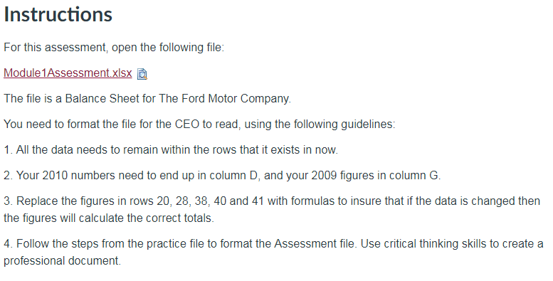 Instructions For This Assessment Open The Followi Chegg