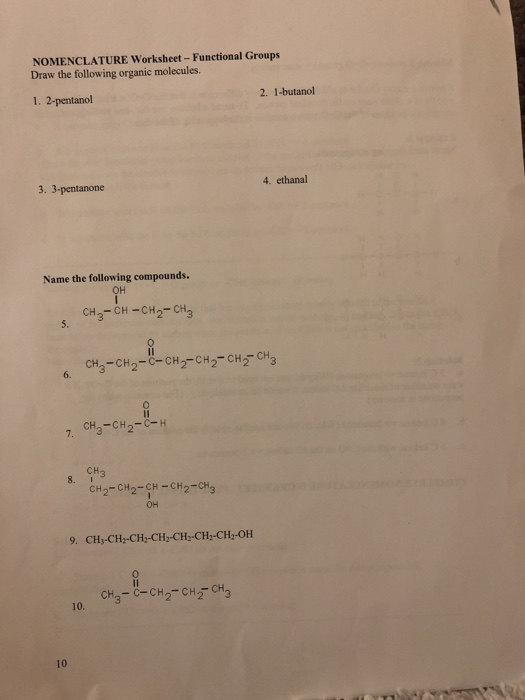 Solved: NOMENCLATURE Worksheet - Functional Groups Draw Th