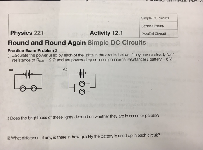 Solved: Simple DC Circuits Series Circuit Parallel Circuit ...