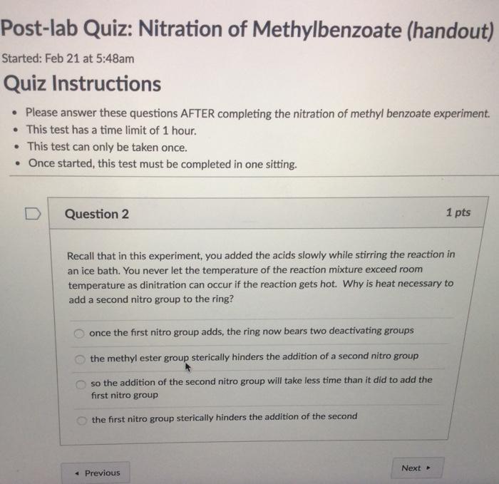 Solved Post Lab Quiz Nitration Of Methylbenzoate Handou